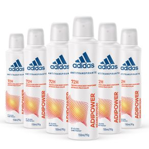 Kit-Desodorante-Aerossol-Antitranspirante-Adidas-Adipower-Feminino-com-6-Unidades