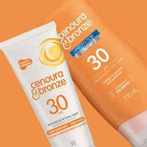 Kit-Protetor-Solar-Cenoura-e-Bronze-FPS30-com-200ml---Facial-FPS30-com-50g