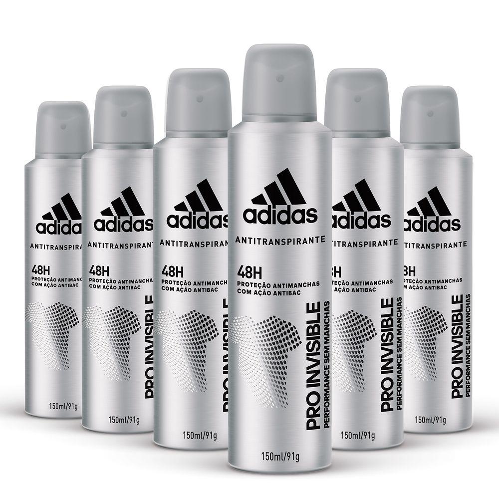 89b5b2180e Kit Desodorante Aerossol Adidas Invisible Masculino com 150ml com 6 ...